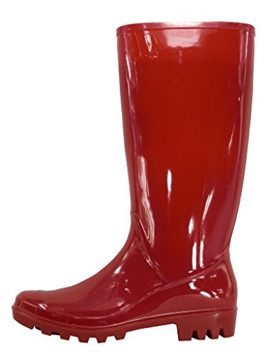 Woman's Rain Boot Tall Shiny Body Red 11