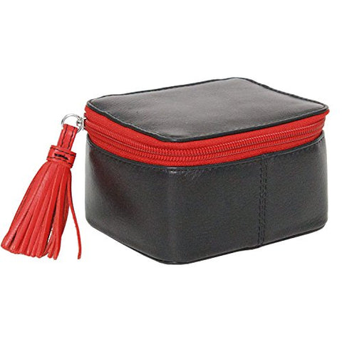 Zip Around Jewelry Travel Organizer, Black Red