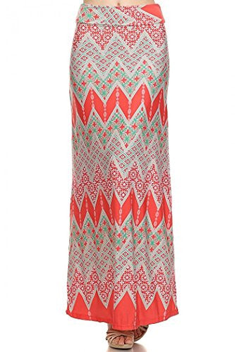 Boho chevron print, high waisted, full length, maxi skirt, Multi, Large