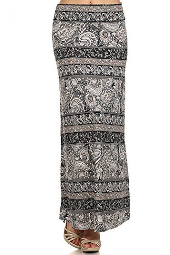 Paisley border print, self-banded, maxi skirt, Multi, Small