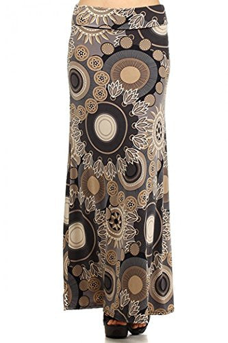 Mandala print, self-banded maxi skirt with an A-line hem, Multi, Small