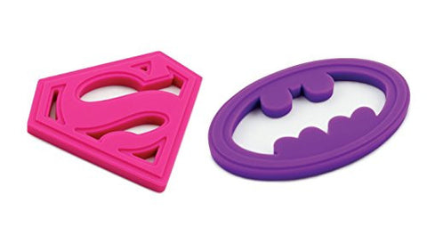 Silicone Teether, Superman Pink and Silicone Teether, Batman Purple
