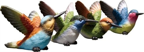 "Resin Hummingbirds set of 8 (4 assorted styles) 3.75""W x 2.25""H (not in pricelist)"