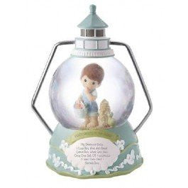 """Footprints In The Sand®"" 100mm Musical Water Globe Tune: Jesus Loves Me Material: Resin, 7.75"""
