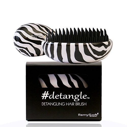RemySoft Detangling Hair Brush - #detangle (Zebralicious) - Professional Compact Detangler for Adults and Kids - A must have for Hair Extensions and all hair types