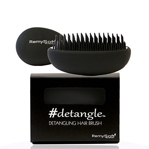 RemySoft Detangling Hair Brush - #detangle (Fade to Black) - Professional Compact Detangler for Adults and Kids - A must have for Hair Extensions and all hair types