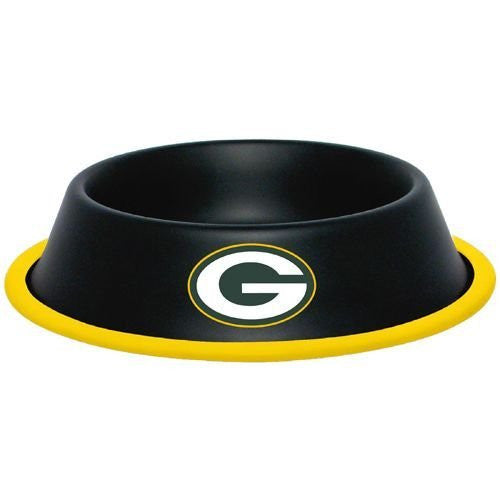 Green Bay Packers 32oz Black Stainless Steel Pet Dog Food Water Bowl