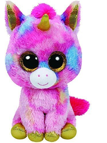 Fantasia the Multicolor Unicorn Regular Beanie Boo Plush, 6-Inch