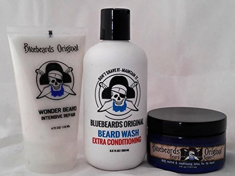 (3-Piece Bundle) Extra Conditioning Beard Wash, 8.5 fl oz. and Wonder Beard Intensive Repair, 4.0 fl oz. and Beard Saver, 4.0 fl oz.