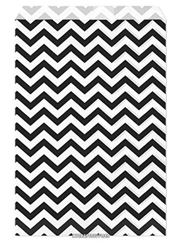 100pcs Paper Gift Bag, 6''W x 9''H - Black Chevron