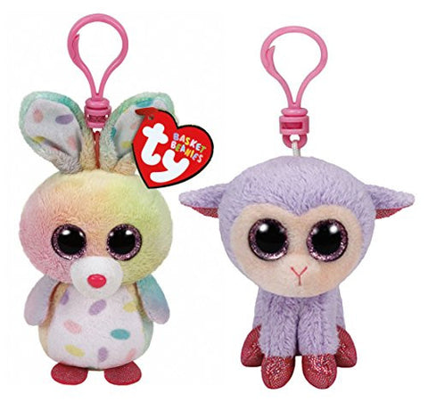 (2 Piece Bundle) Swirls the Bunny with Dots Plush Clip, 5-Inch and Lilli the Purple Lamb Beanie Plush Clip, 5-Inch