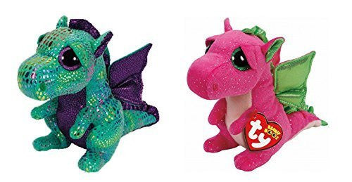(2 Piece Bundle) Darla the Pink Dragon Regular Beanie Boo Plush, 6-Inch and Cinder the Green Dragon Regular Beanie Boo Plush, 6-Inch
