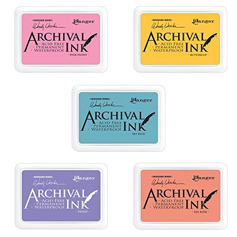 #0 Archival Ink Pad, Designer Series - Wendy Vecchi Buttercup, #0 Archival Ink Pad, Designer Series - Wendy Vecchi Tea Rose, #0 Archival Ink Pad, Designer Series - Wendy Vecchi Pink Peony, #0 Archival Ink Pad, Designer Series - Wendy Vecchi Violet and #0