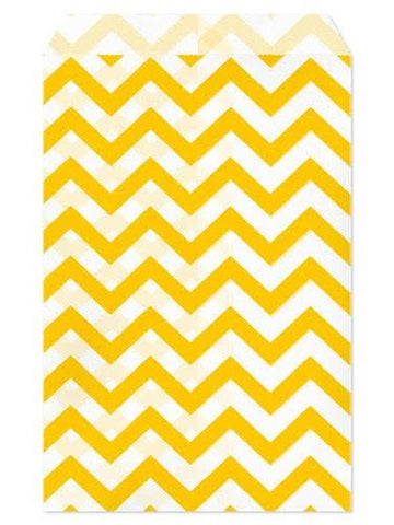 100pcs Paper Gift Bag, 4''W x 6''H - Yellow Chevron