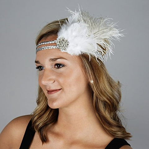 Zucker Feather Place HBD1930-W-SLV Flapper Headband, White/Silver