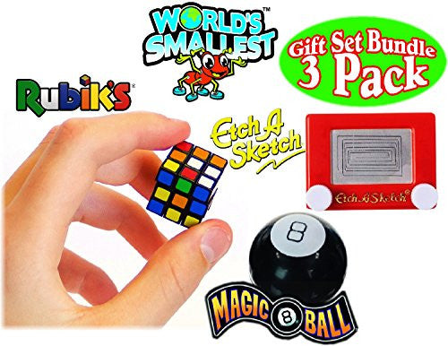 Worlds Smallest Rubiks Cube, Worlds Smallest Magic 8 Ball, Worlds Smallest Etch ASketch