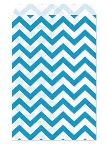 100pcs Paper Gift Bag, 5''W x 7''H - Blue Chevron