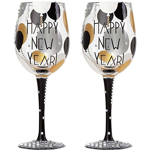 "WINE GLASS BLINGING NEW YEAR, 10.5""  15 oz."