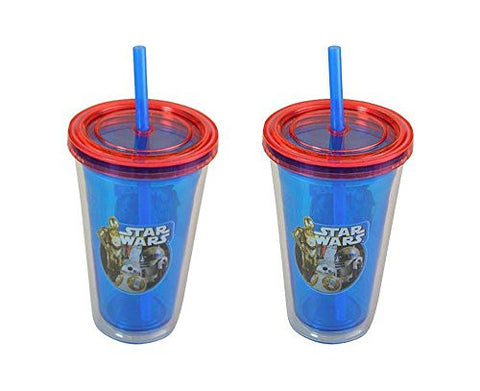 Zak- Star Wars Ep7 Kids 12oz PS Double Wall Fun Sip with lid and straw