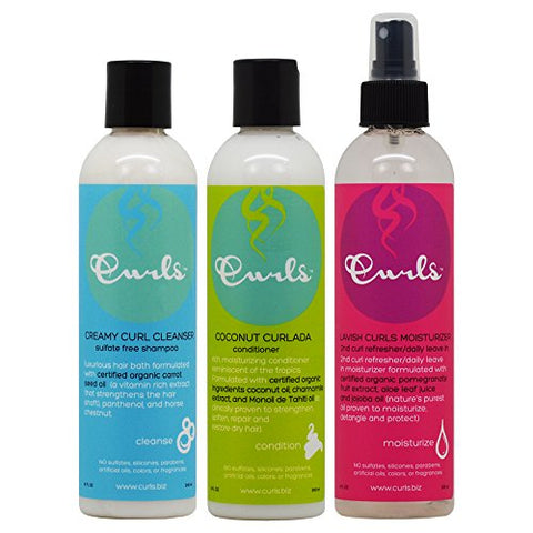 Creamy Curl Cleanser (8 Oz), Coconut Curlada Conditioner (8 Oz), and Lavish Curls Moisturizer (8 Oz)