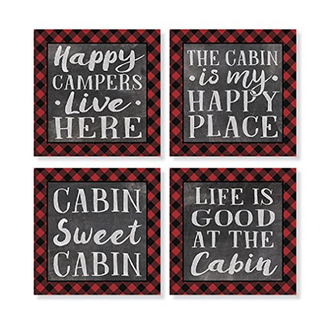 """Plaid Cabin"" Square House Coaster Set"