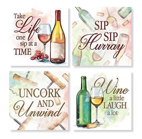 """Watercolor Wine"" Square House Coaster Set"