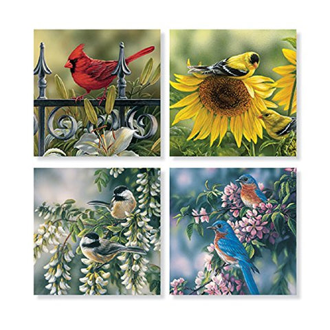 """Mixed Bird"" Square House Coaster Set"