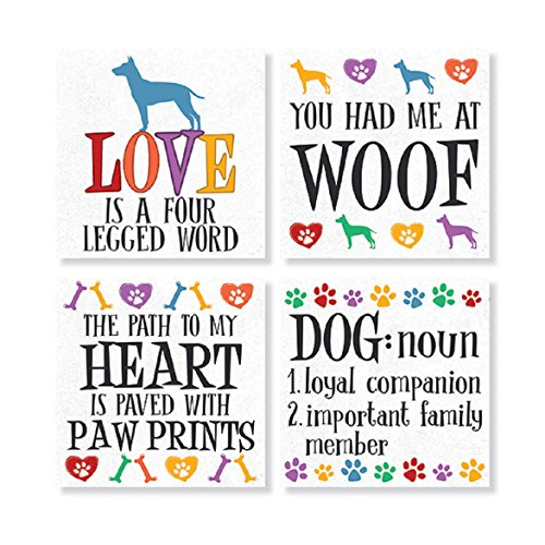 """Fun Dog"" Square House Coaster Set"