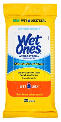 Wet Ones Anti-Bacterial Hand Wipes 20 Count (10 Pieces) Citrus