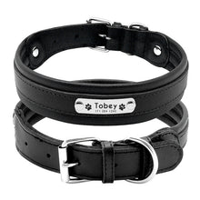 Load image into Gallery viewer, Large Dog Collar Genuine Leather Dog Collar Personalized Pet Name ID Collar Padded Customized For Medium Large Dogs