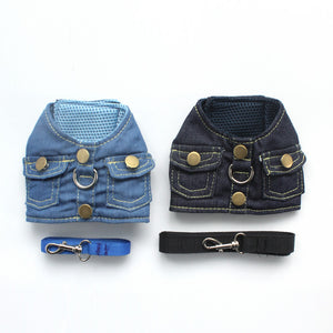 Denim Harness Leash Set for Small Dogs