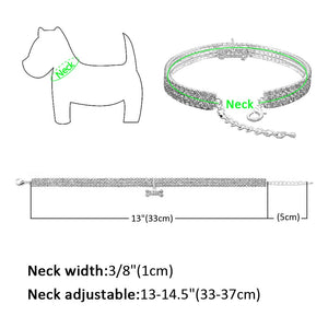 Beautiful Necklace Dog Collar With Bone Charm Pendant