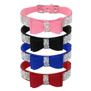 Bling Bowknot Suede Leather Rhinestone Dog Collar and Leash Set Pet Puppy Cat Chihuahua Collars For Small Medium Dogs Cats Pink