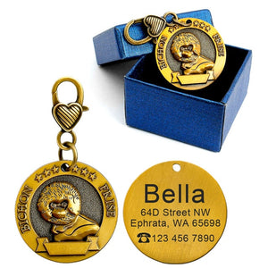 Dog ID Tag Engraved Personalized Metal Pet Dog Tags Custom Puppy Cat ID Name Tags Collar Accessories For Dogs Necklaces Pendants