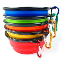 Load image into Gallery viewer, Silicone Collapsible Feeding Bowl Dog Water Dish Cat Portable Feeder Puppy Pet Travel Bowls