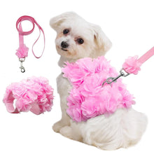 Load image into Gallery viewer, Pink Floral Look Dog Harness Leash Set