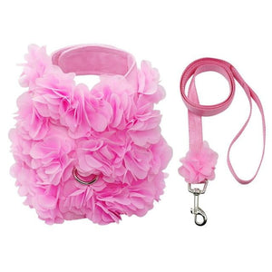 Pink Floral Look Dog Harness Leash Set