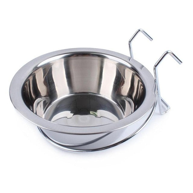 Stainless Steel Hanging Pet Cage Dog Bowl Bird Cat Puppy Food Water Bowl Pet Feeder