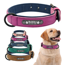 Load image into Gallery viewer, Personalised Inner Padded Leather Dog Collars with ID