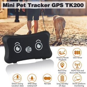 Mini Pet GPS Tracker TK200 Waterproof IP66 Dogs/Cats GPS Tracker TK200 Realtime Tracking Low Battery Alarm Car-styling Locators