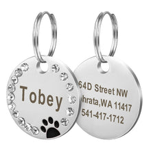 Load image into Gallery viewer, Dog Tag Personalized Pet Puppy Cat ID Tag Engraved Custom Dog Collar Accessories Stainless Steel Name Tag Paw For Dogs Cats Pink