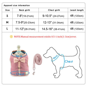 Small Puppy Cat Dog Harness Vest Cute Bowknot Mesh Pet Harness Leash Set Adjustable For Small Medium Dogs Cats Chihuahua Pink
