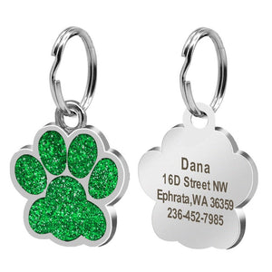 Stainless Steel Paw Name Tags Pendant Pet Collar