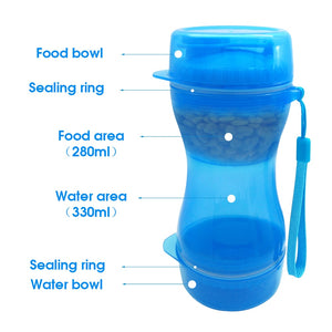 2 in 1 Portable Pet Dog Water Bottle Food Container For Small Large Dogs Travel Drinking Bowl Outdoor Pet Water Dispenser Feeder
