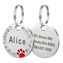 Load image into Gallery viewer, Personalized Dog Tag Custom Pet Puppy Cat ID Tag Dog Collar Accessories Engraved Stainless Steel Name Paw Tag For Dogs Cats Pink
