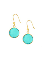 Load image into Gallery viewer, Round Gemstone Dangle Earring