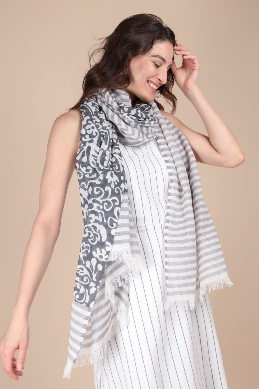 Penelope Paisley Striped Scarf