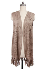 Load image into Gallery viewer, Eyelet Suede Fringed Vest