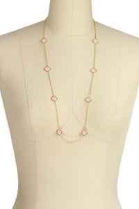 Rose Quartz Gold Drop Necklace