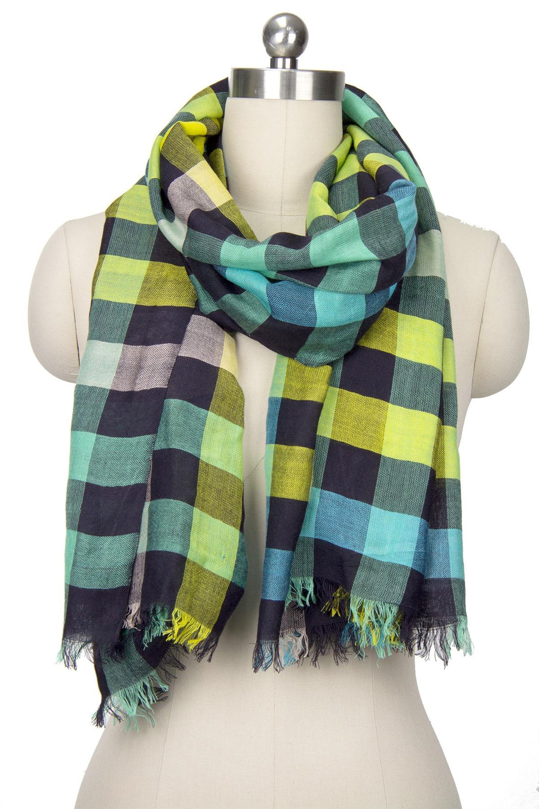 Coney Colored Plaid Scarf